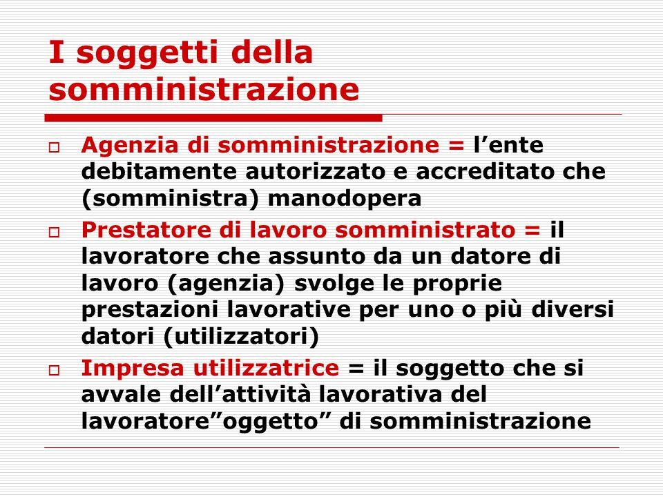 I soggetti della somministrazione  Agenzia di somministrazione = l'ente debitamente autorizzato e accreditato che (somministra) manodopera  Prestato