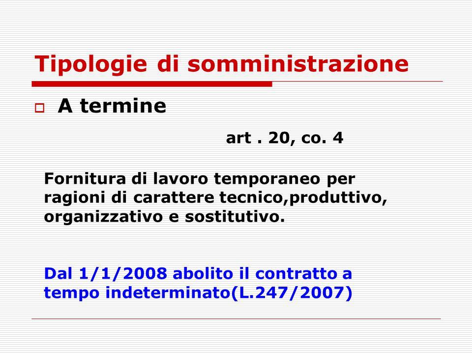 Tipologie di somministrazione  A termine art. 20, co. 4 Fornitura di lavoro temporaneo per ragioni di carattere tecnico,produttivo, organizzativo e s