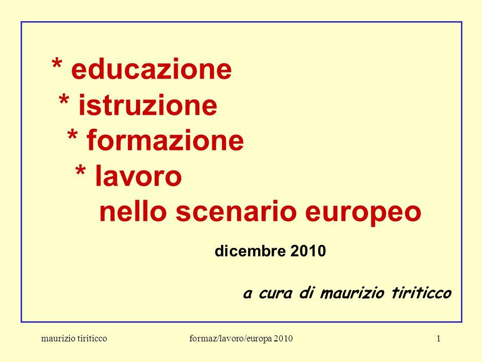 maurizio tiriticcoformaz/lavoro/europa 201072 Le quattro sfide imposte all'UE * la globalizzazione e l'emergenza di Paesi poco industrializzati e fortemente competitivi * l'invecchiamento della popolazione europea e i flussi migratori * i cambiamenti nel mercato del lavoro * la rivoluzione nelle/delle Tecnologie dell'Informazione e della Comunicazione La risposta dell'UE alle sfide Realizzare efficienza ed equità nell'istruzione, nella formazione e nell'apprendimento permanente
