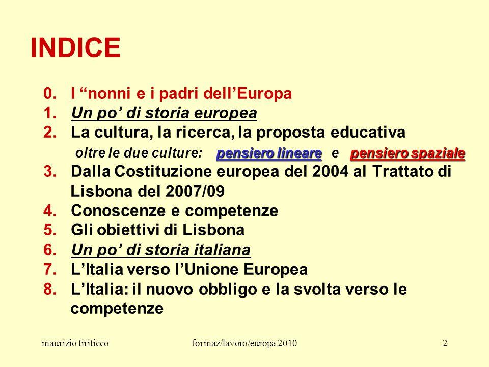 maurizio tiriticcoformaz/lavoro/europa 201033 dal Trattato firmato il 13 dicembre 2007 a Lisbona dai capi di Stato e di governo dei 27 Stati membri dell'Unione europea articolo 13 – Libertà delle arti e delle accademie Le arti e la ricerca scientifica sono libere.