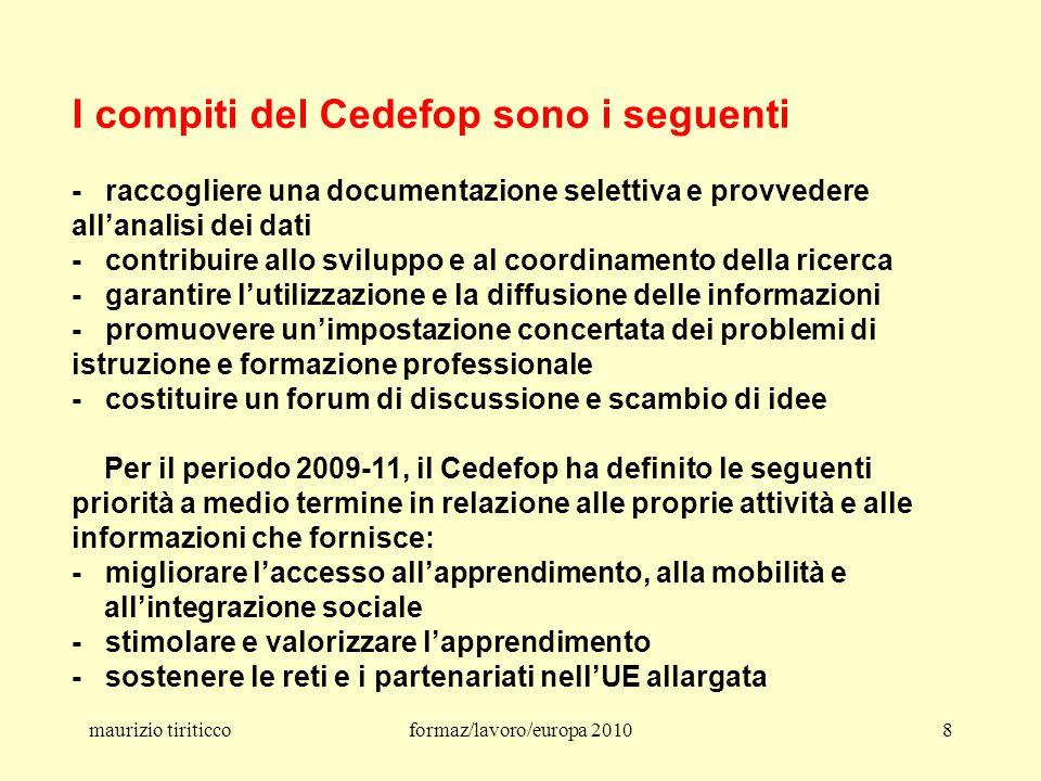maurizio tiriticcoformaz/lavoro/europa 201079 Le scuole per il 21° secolo – 11 luglio 2007 La Commissione UE propone 8 domande 1.