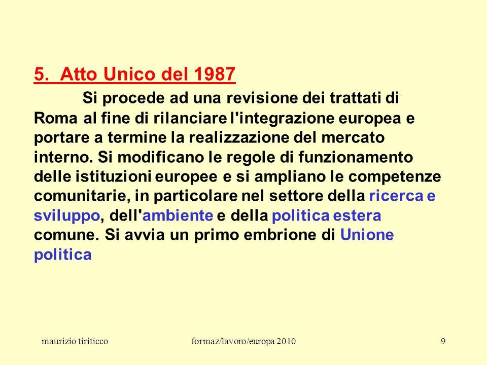 maurizio tiriticcoformaz/lavoro/europa 201030 ● dalla Costituzione europea – Roma 2004 ● al Trattato – Lisbona 2007/09 Si ricordi che la Costituzione, bocciata dai referendum francese e olandese, attualmente non è più in vigore.