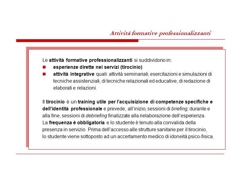 Attività formative professionalizzanti Le attività formative professionalizzanti si suddividono in: esperienze dirette nei servizi (tirocinio) attivit