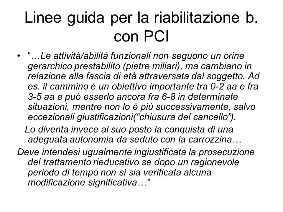 """Linee guida per la riabilitazione b. con PCI """"…Le attività/abilità funzionali non seguono un orine gerarchico prestabilito (pietre miliari), ma cambia"""