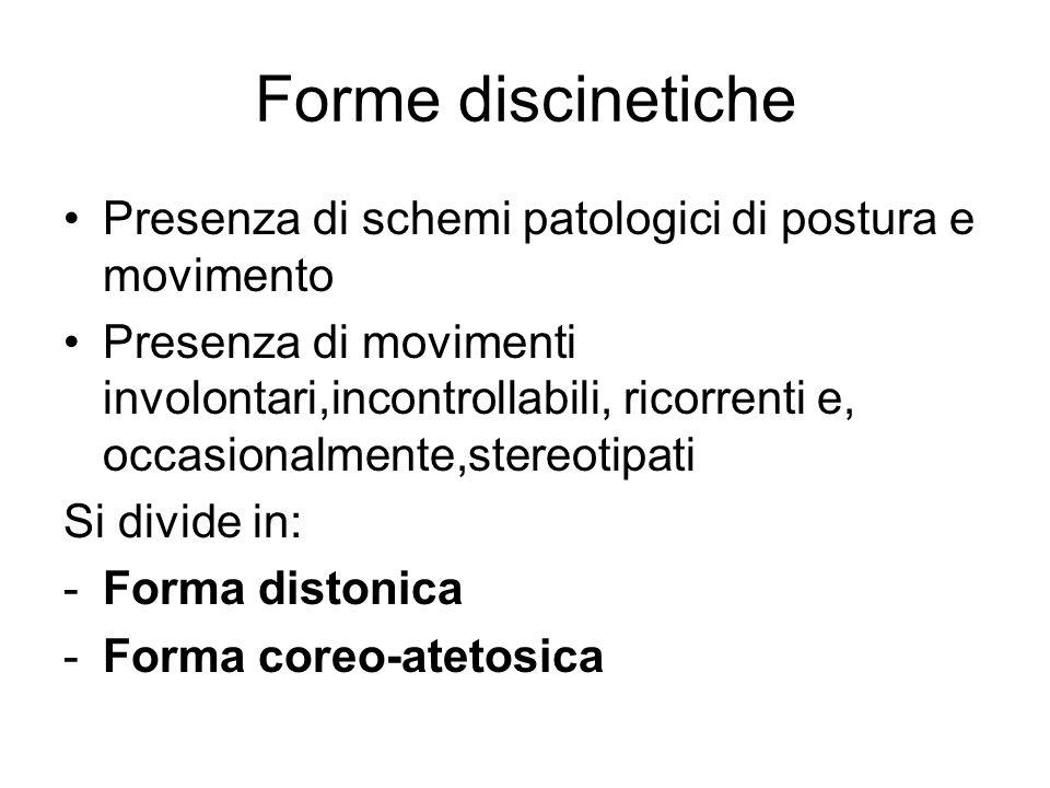Forme discinetiche Presenza di schemi patologici di postura e movimento Presenza di movimenti involontari,incontrollabili, ricorrenti e, occasionalmen