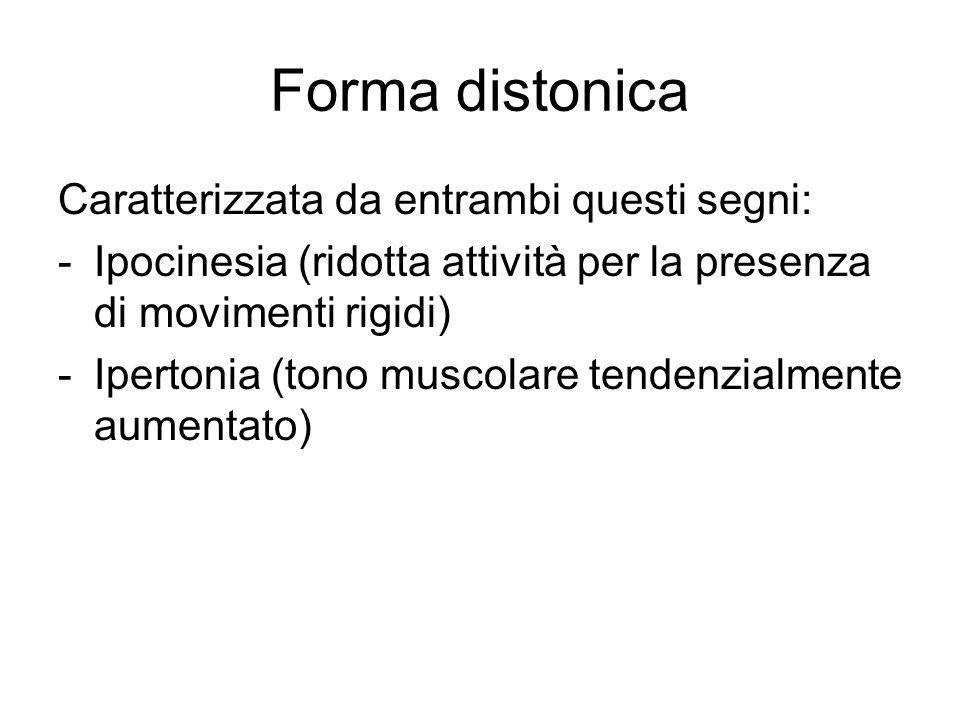 Forma distonica Caratterizzata da entrambi questi segni: -Ipocinesia (ridotta attività per la presenza di movimenti rigidi) -Ipertonia (tono muscolare