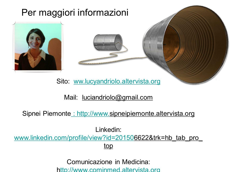 Per maggiori informazioni Sito: ww.lucyandriolo.altervista.orgww.lucyandriolo.altervista.org Mail: luciandriolo@gmail.com Sipnei Piemonte : http://www