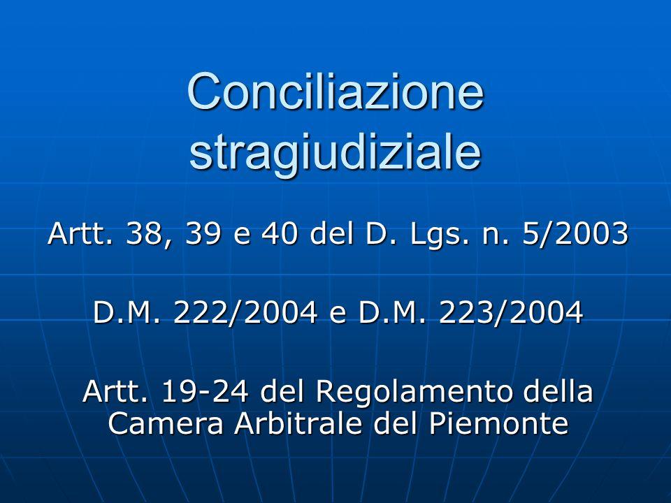 Conciliazione stragiudiziale Artt. 38, 39 e 40 del D. Lgs. n. 5/2003 D.M. 222/2004 e D.M. 223/2004 Artt. 19-24 del Regolamento della Camera Arbitrale