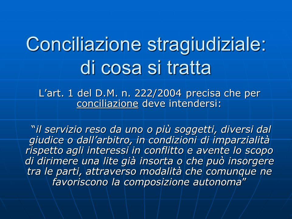 """Conciliazione stragiudiziale: di cosa si tratta L'art. 1 del D.M. n. 222/2004 precisa che per conciliazione deve intendersi: """"il servizio reso da uno"""