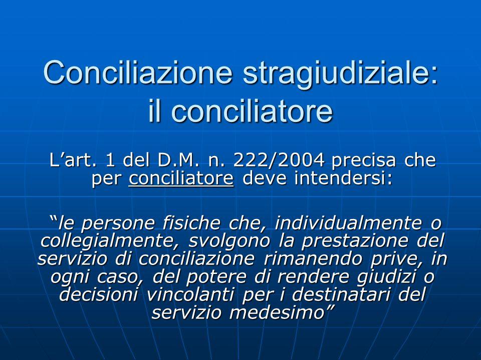"""Conciliazione stragiudiziale: il conciliatore L'art. 1 del D.M. n. 222/2004 precisa che per conciliatore deve intendersi: """"le persone fisiche che, ind"""