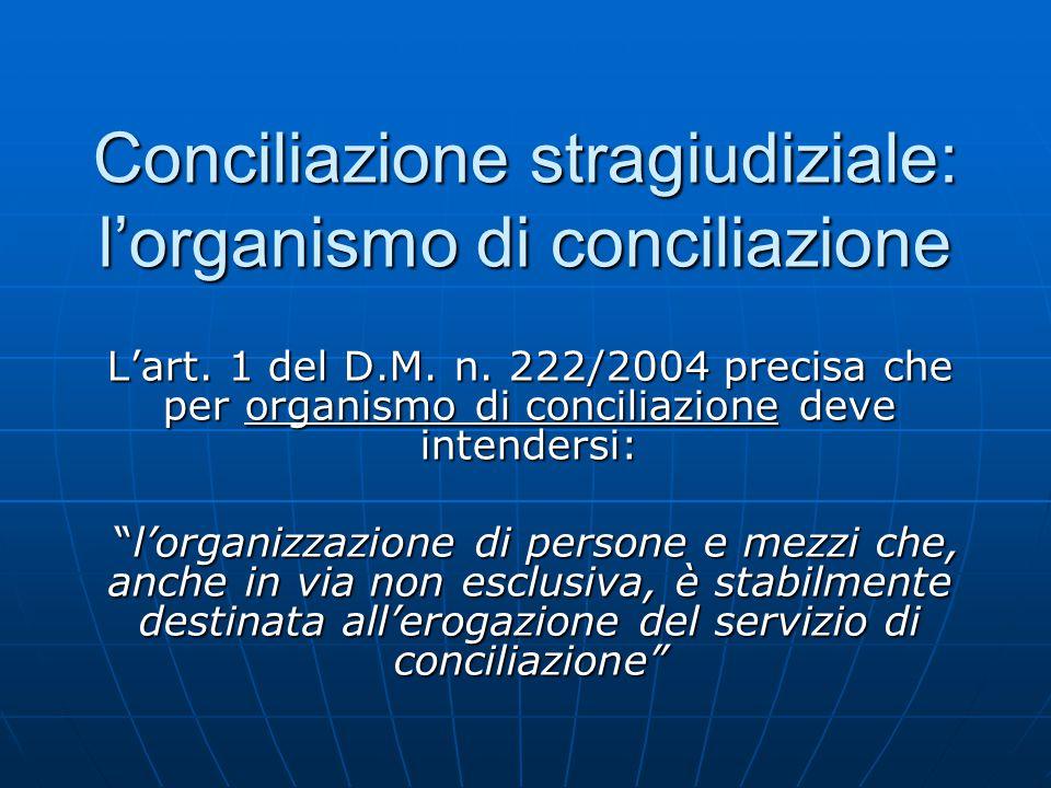 """Conciliazione stragiudiziale: l'organismo di conciliazione L'art. 1 del D.M. n. 222/2004 precisa che per organismo di conciliazione deve intendersi: """""""