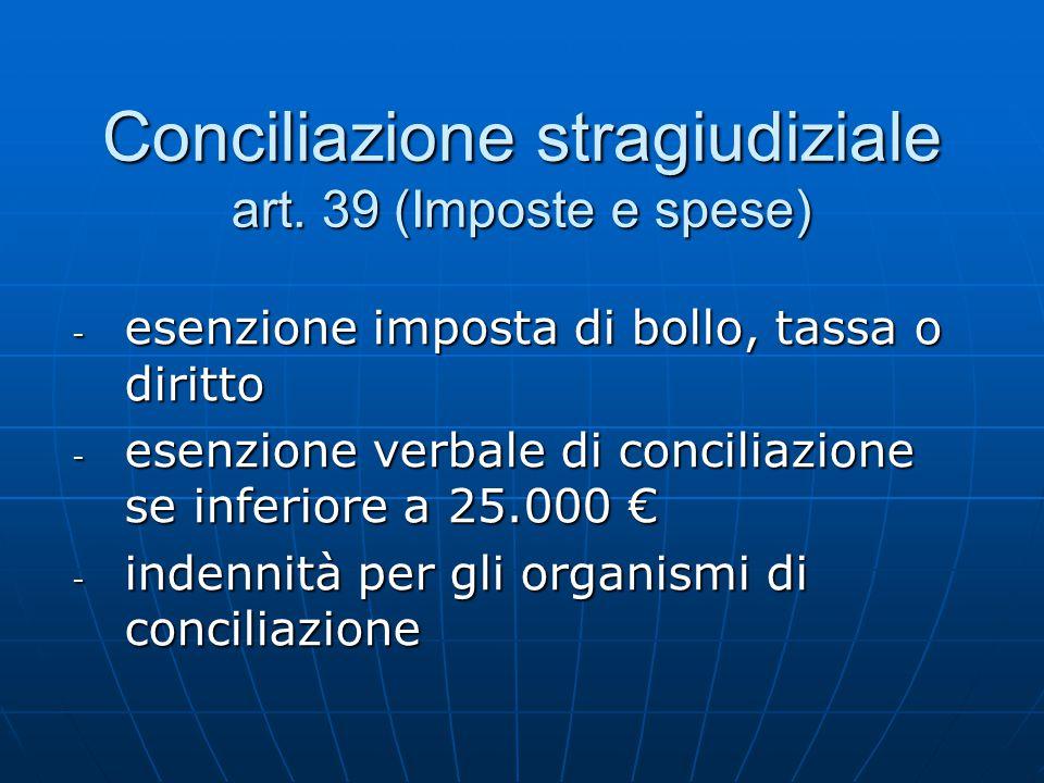 Conciliazione stragiudiziale art. 39 (Imposte e spese) - esenzione imposta di bollo, tassa o diritto - esenzione verbale di conciliazione se inferiore