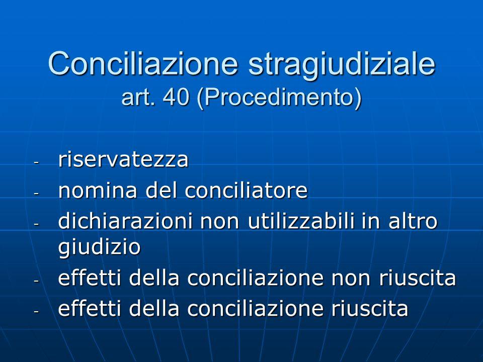 Conciliazione stragiudiziale art. 40 (Procedimento) - riservatezza - nomina del conciliatore - dichiarazioni non utilizzabili in altro giudizio - effe
