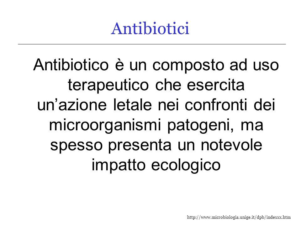 http://www.microbiologia.unige.it/dpb/indexxx.htm Classificazione chimica degli agenti antibatterici Βeta-lattamici oPenicilline: derivati dell'acido 6-aminopenicillanico oCefalosporine: derivati dell'acido 7-aminocefalosporanico Macrolidi nucleo lattonico macrociclico Aminoglicosidi aminozuccheri uniti da legami glicosilici a diverse basi Tetracicline composte da 4 annelli benzenici fusi Polipeptidi aminoacidi legati da legami peptidici Chinoloni/Fluochinoloni anelli chinonici Sulfamidici analoghi di acido p-aminobenzoico