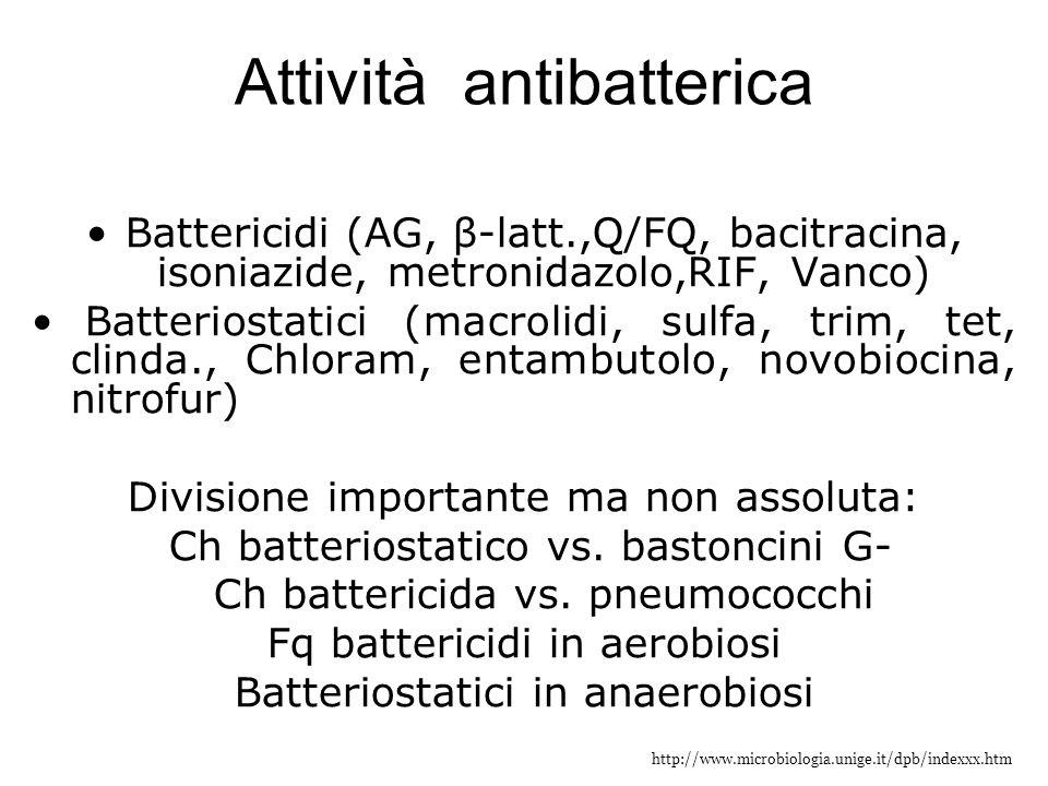 http://www.microbiologia.unige.it/dpb/indexxx.htm Attività antibatterica Battericidi (AG, β-latt.,Q/FQ, bacitracina, isoniazide, metronidazolo,RIF, Va