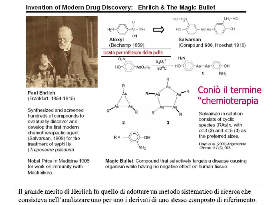 """Coniò il termine """"chemioterapia Usato per infezioni della pelle Il grande merito di Herlich fu quello di adottare un metodo sistematico di ricerca che"""