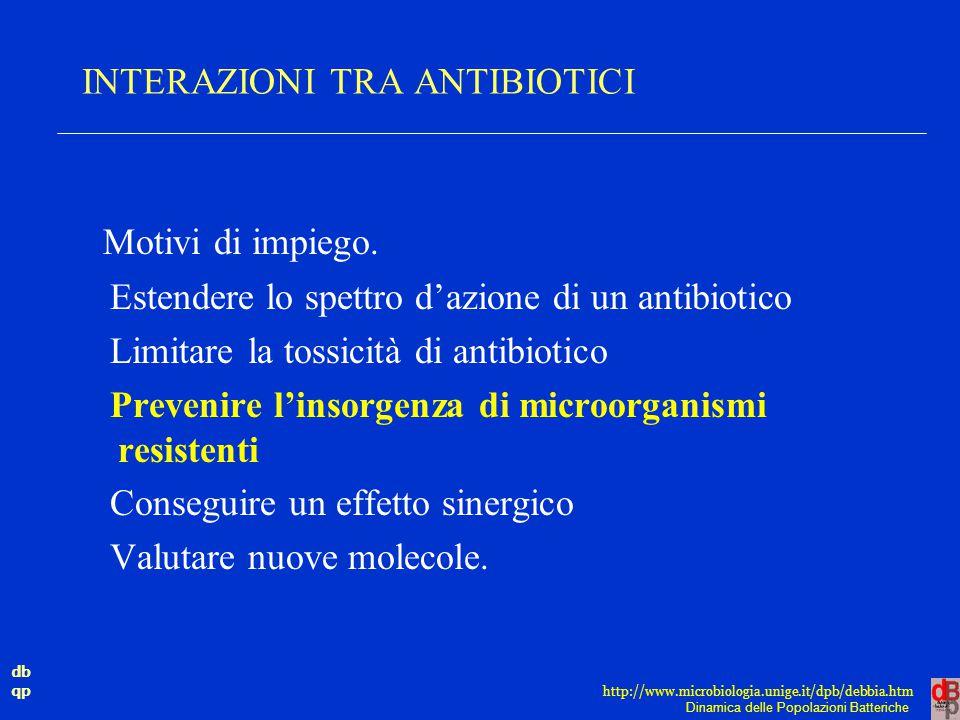 db qp Dinamica delle Popolazioni Batteriche http://www.microbiologia.unige.it/dpb/debbia.htm INTERAZIONI TRA ANTIBIOTICI Motivi di impiego. Estendere