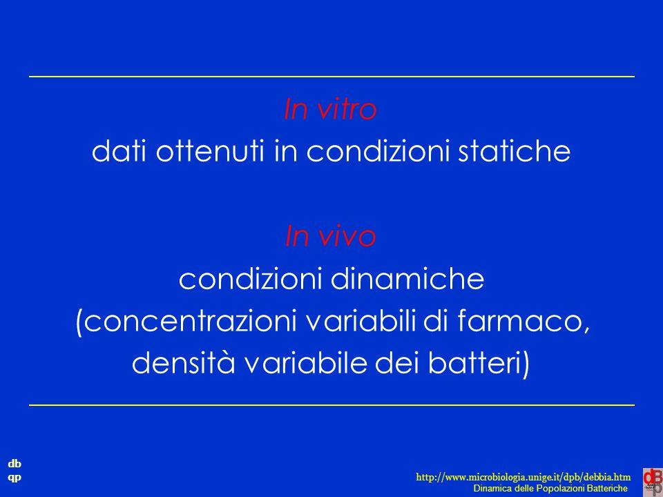db qp Dinamica delle Popolazioni Batteriche http://www.microbiologia.unige.it/dpb/debbia.htm In vitro dati ottenuti in condizioni statiche In vivo con