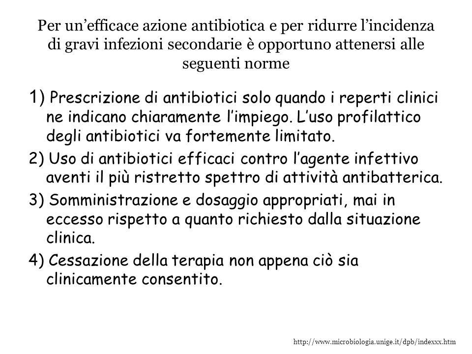http://www.microbiologia.unige.it/dpb/indexxx.htm Per un'efficace azione antibiotica e per ridurre l'incidenza di gravi infezioni secondarie è opportu
