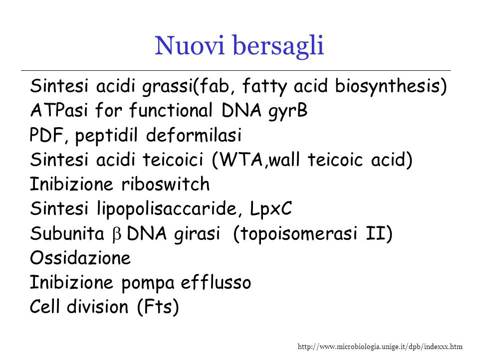 http://www.microbiologia.unige.it/dpb/indexxx.htm Nuovi bersagli Sintesi acidi grassi(fab, fatty acid biosynthesis) ATPasi for functional DNA gyrB PDF