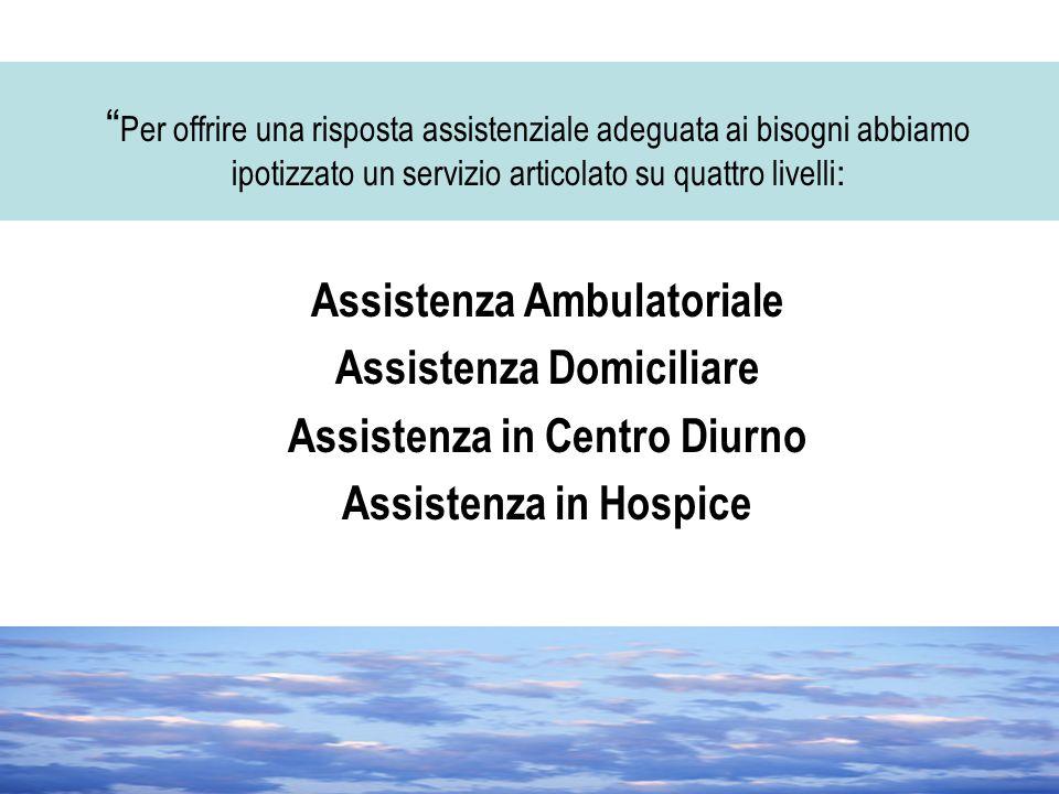 """"""" Per offrire una risposta assistenziale adeguata ai bisogni abbiamo ipotizzato un servizio articolato su quattro livelli : Assistenza Ambulatoriale A"""
