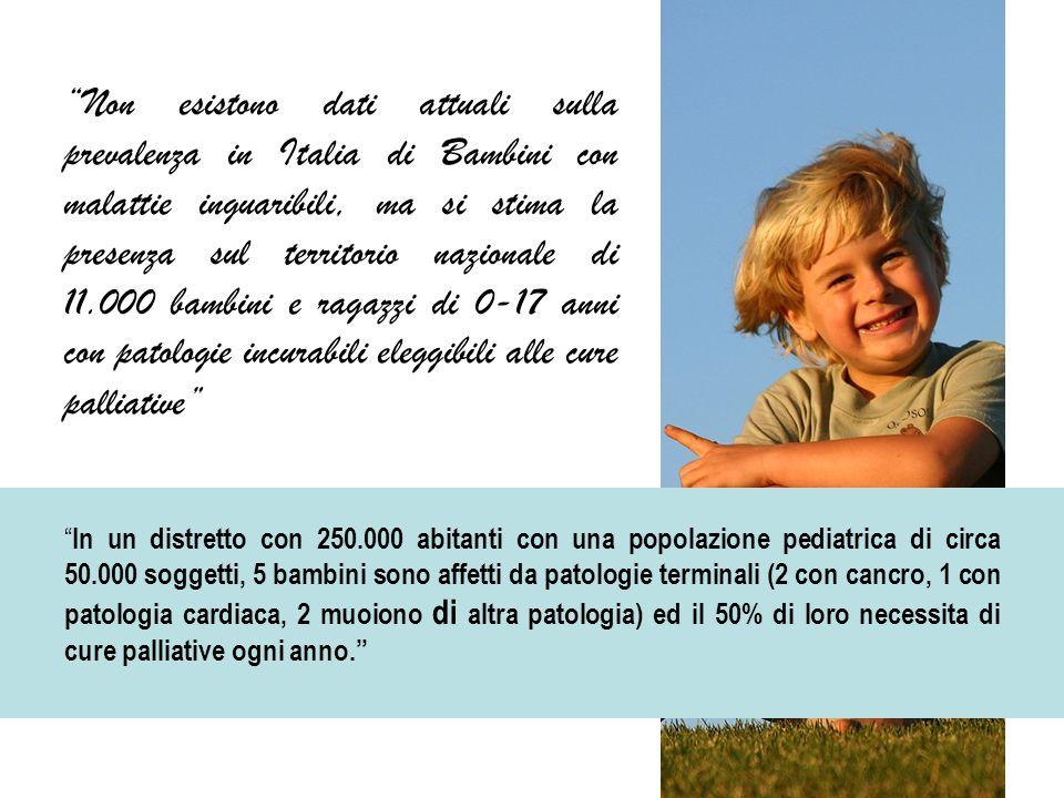 """""""Non esistono dati attuali sulla prevalenza in Italia di Bambini con malattie inguaribili, ma si stima la presenza sul territorio nazionale di 11.000"""