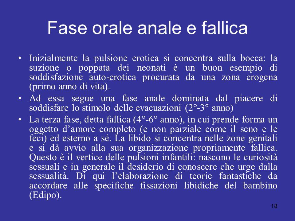 18 Fase orale anale e fallica Inizialmente la pulsione erotica si concentra sulla bocca: la suzione o poppata dei neonati è un buon esempio di soddisf