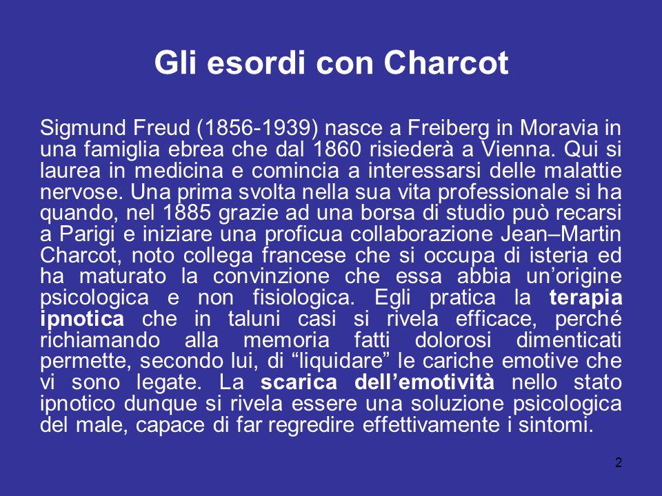 2 Gli esordi con Charcot Sigmund Freud (1856-1939) nasce a Freiberg in Moravia in una famiglia ebrea che dal 1860 risiederà a Vienna. Qui si laurea in