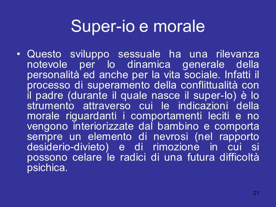 21 Super-io e morale Questo sviluppo sessuale ha una rilevanza notevole per lo dinamica generale della personalità ed anche per la vita sociale. Infat