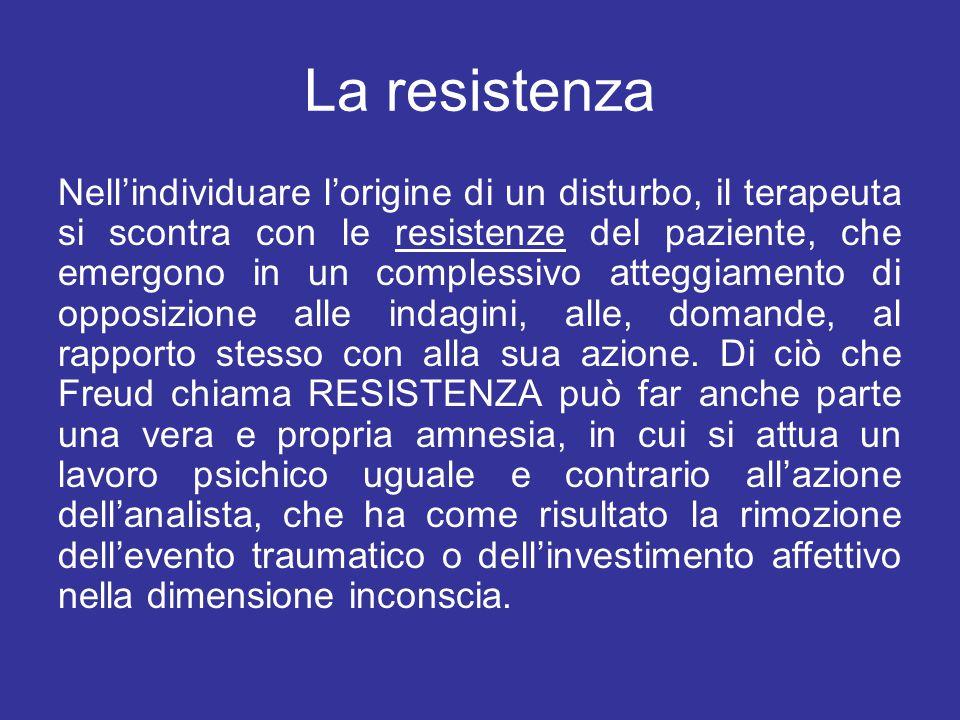 La resistenza Nell'individuare l'origine di un disturbo, il terapeuta si scontra con le resistenze del paziente, che emergono in un complessivo attegg