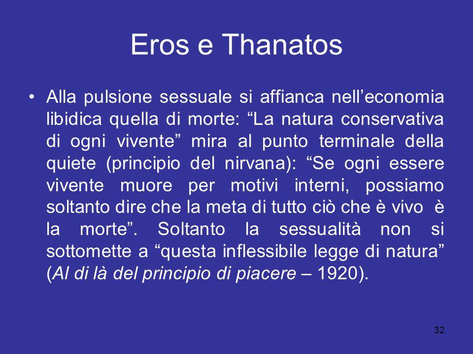"""32 Eros e Thanatos Alla pulsione sessuale si affianca nell'economia libidica quella di morte: """"La natura conservativa di ogni vivente"""" mira al punto t"""