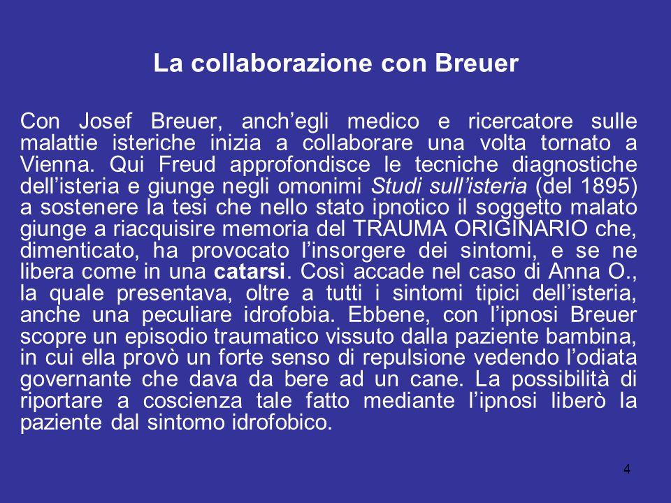 4 La collaborazione con Breuer Con Josef Breuer, anch'egli medico e ricercatore sulle malattie isteriche inizia a collaborare una volta tornato a Vien