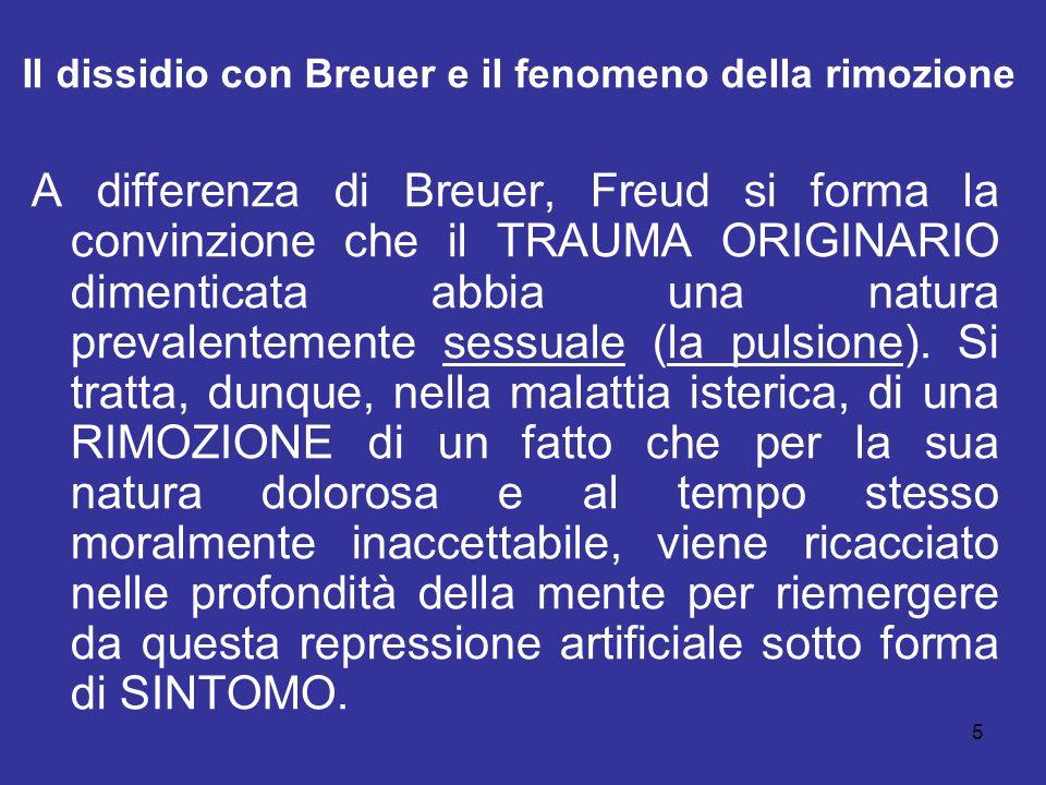 5 Il dissidio con Breuer e il fenomeno della rimozione A differenza di Breuer, Freud si forma la convinzione che il TRAUMA ORIGINARIO dimenticata abbi