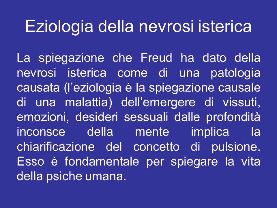 Eziologia della nevrosi isterica La spiegazione che Freud ha dato della nevrosi isterica come di una patologia causata (l'eziologia è la spiegazione c