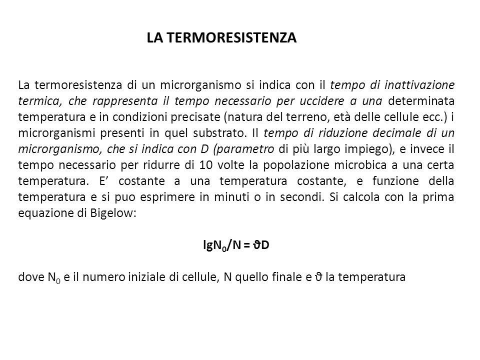 La termoresistenza di un microrganismo si indica con il tempo di inattivazione termica, che rappresenta il tempo necessario per uccidere a una determi
