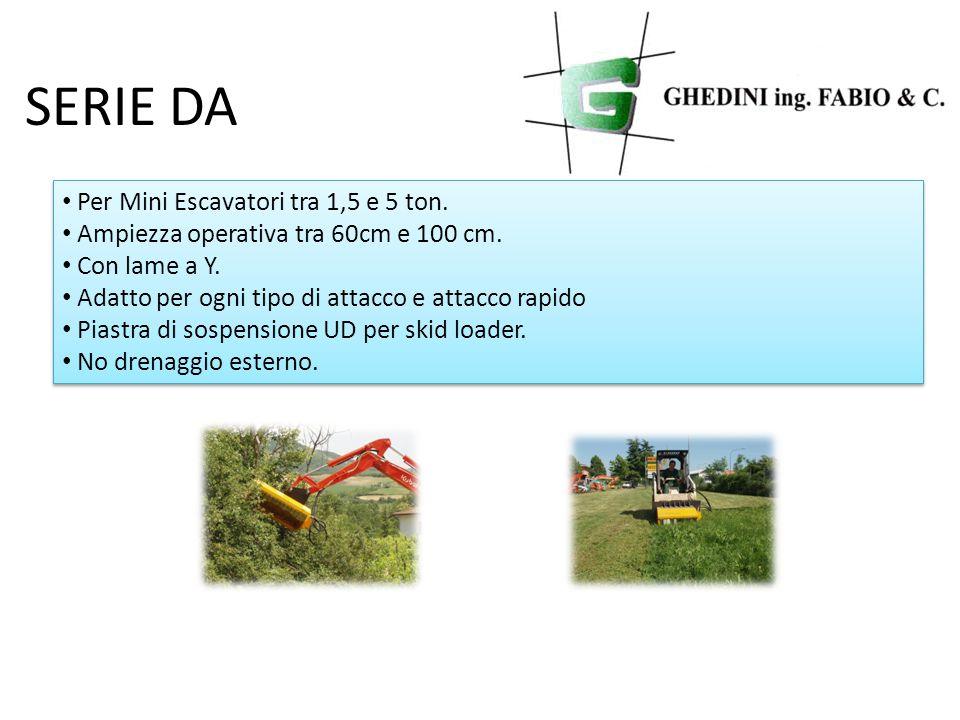 SERIE DA Per Mini Escavatori tra 1,5 e 5 ton. Ampiezza operativa tra 60cm e 100 cm.