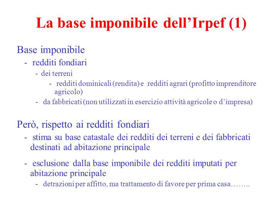 La base imponibile dell'Irpef (2) Prevalenza, però, di regimi sostitutivi (concetto di erosione) Redditi da capitale (attività finanziarie diverse da quelle svolte durante l'attività di impresa e connesse a eventi certi).