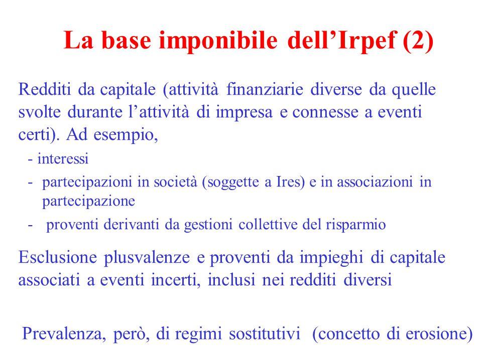 La base imponibile dell'Irpef (3) Redditi da lavoro autonomo Redditi di impresa Redditi diversi - plusvalenze immobiliari e finanziarie - vincite al lotto - redditi da lavoro occasionale…….