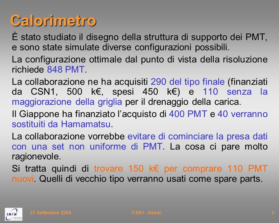 21 Settembre 2004CSN1 - Assisi3Calorimetro È stato studiato il disegno della struttura di supporto dei PMT, e sono state simulate diverse configurazio