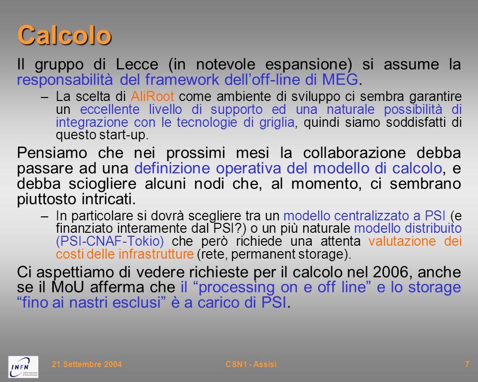 21 Settembre 2004CSN1 - Assisi7Calcolo Il gruppo di Lecce (in notevole espansione) si assume la responsabilità del framework dell'off-line di MEG. –La
