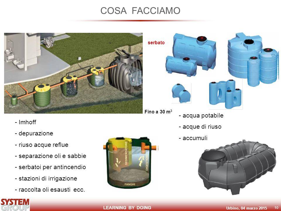 LEARNING BY DOING Urbino, 04 marzo 2015 10 COSA FACCIAMO - Imhoff - depurazione - riuso acque reflue - separazione oli e sabbie - serbatoi per antincendio - stazioni di irrigazione - raccolta oli esausti ecc.