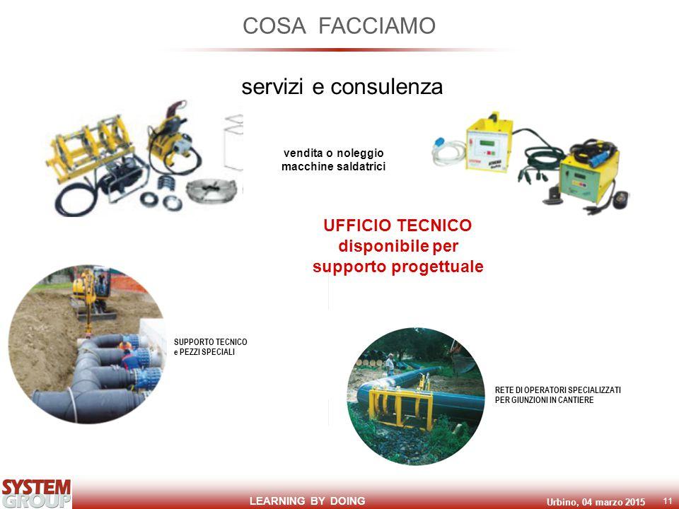 LEARNING BY DOING Urbino, 04 marzo 2015 11 COSA FACCIAMO servizi e consulenza vendita o noleggio macchine saldatrici UFFICIO TECNICO disponibile per supporto progettuale RETE DI OPERATORI SPECIALIZZATI PER GIUNZIONI IN CANTIERE SUPPORTO TECNICO e PEZZI SPECIALI