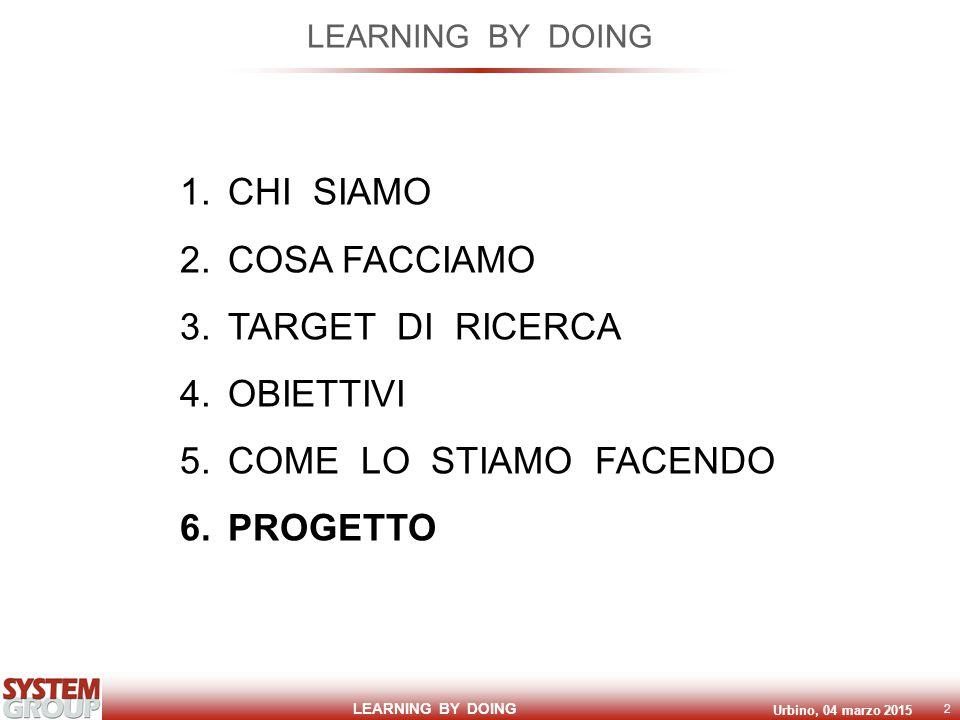 LEARNING BY DOING Urbino, 04 marzo 2015 2 LEARNING BY DOING 1.CHI SIAMO 2.COSA FACCIAMO 3.TARGET DI RICERCA 4.OBIETTIVI 5.COME LO STIAMO FACENDO 6.PRO