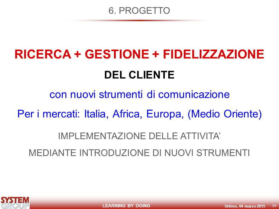 LEARNING BY DOING Urbino, 04 marzo 2015 24 6.