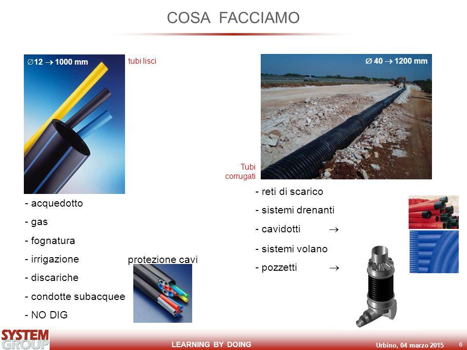 LEARNING BY DOING Urbino, 04 marzo 2015 6 COSA FACCIAMO - acquedotto - gas - fognatura - irrigazione - discariche - condotte subacquee - NO DIG - reti di scarico - sistemi drenanti - cavidotti  - sistemi volano - pozzetti   12  1000 mm tubi lisci Tubi corrugati  40  1200 mm protezione cavi