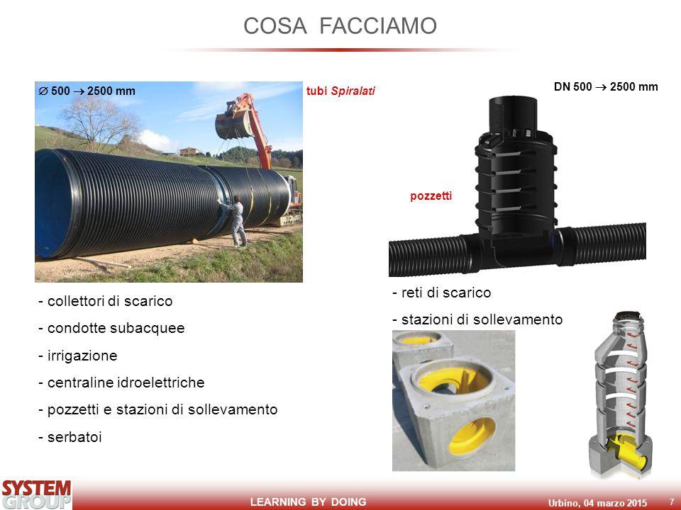 LEARNING BY DOING Urbino, 04 marzo 2015 7 COSA FACCIAMO - collettori di scarico - condotte subacquee - irrigazione - centraline idroelettriche - pozzetti e stazioni di sollevamento - serbatoi - reti di scarico - stazioni di sollevamento  500  2500 mm tubi Spiralati DN 500  2500 mm pozzetti