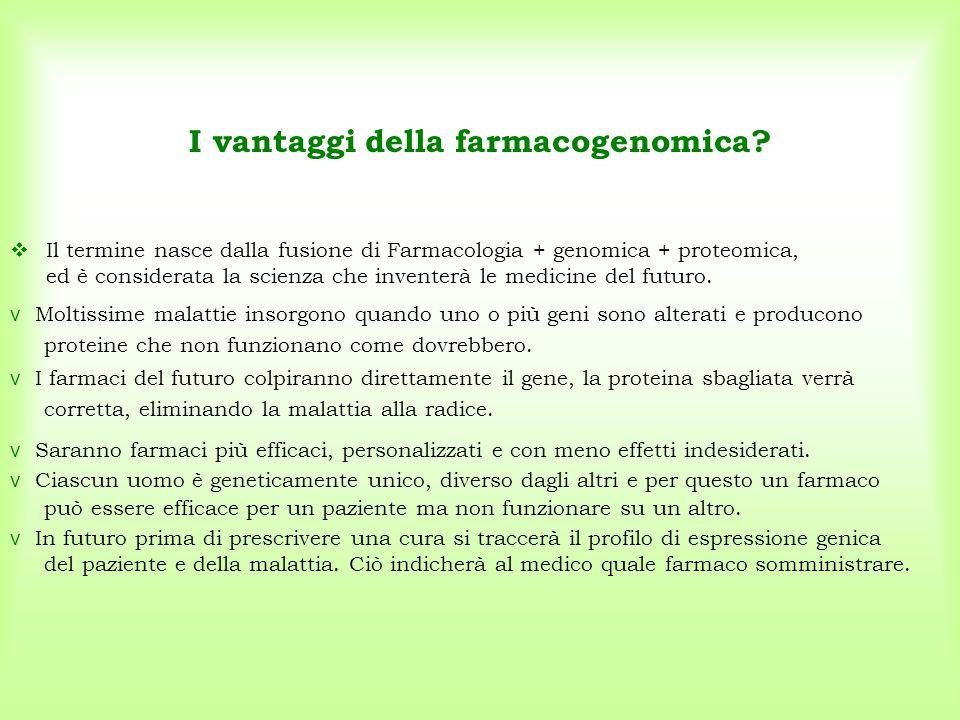 I vantaggi della farmacogenomica?  Il termine nasce dalla fusione di Farmacologia + genomica + proteomica, ed è considerata la scienza che inventerà