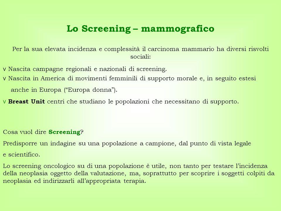 Cosa vuol dire Screening ? Predisporre un indagine su una popolazione a campione, dal punto di vista legale e scientifico. Lo screening oncologico su