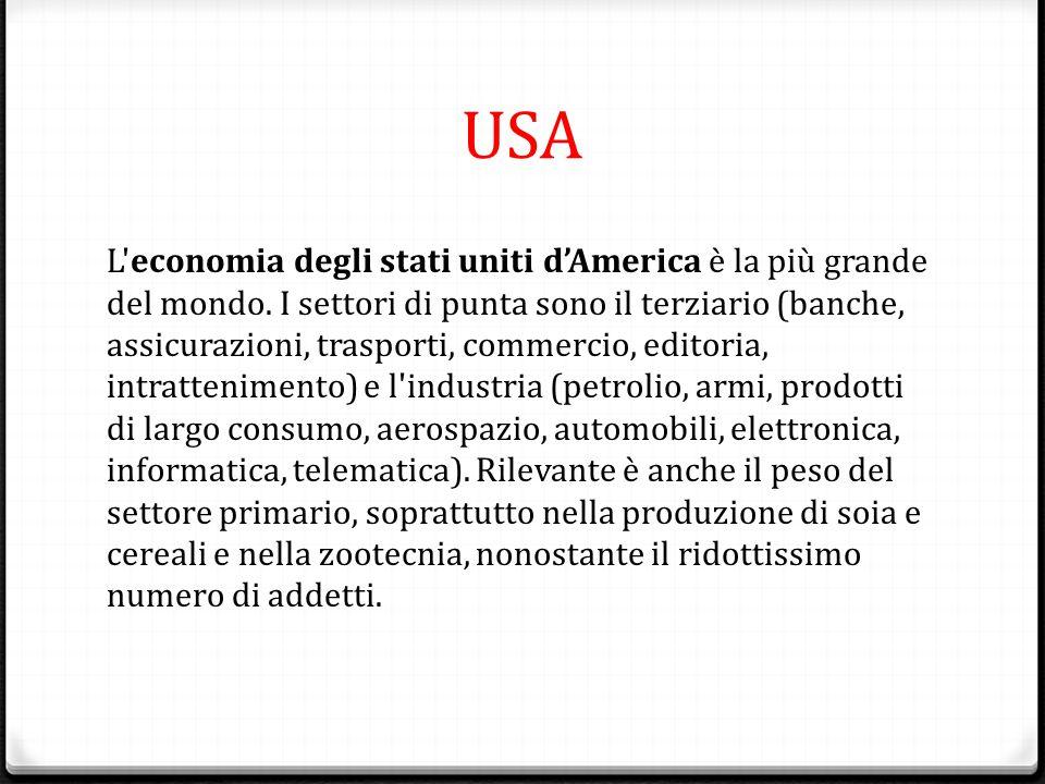 USA L'economia degli stati uniti d'America è la più grande del mondo. I settori di punta sono il terziario (banche, assicurazioni, trasporti, commerci