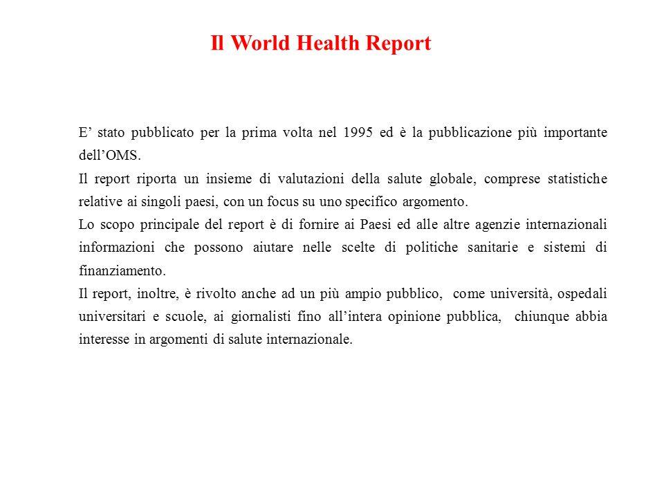 Il World Health Report E' stato pubblicato per la prima volta nel 1995 ed è la pubblicazione più importante dell'OMS.